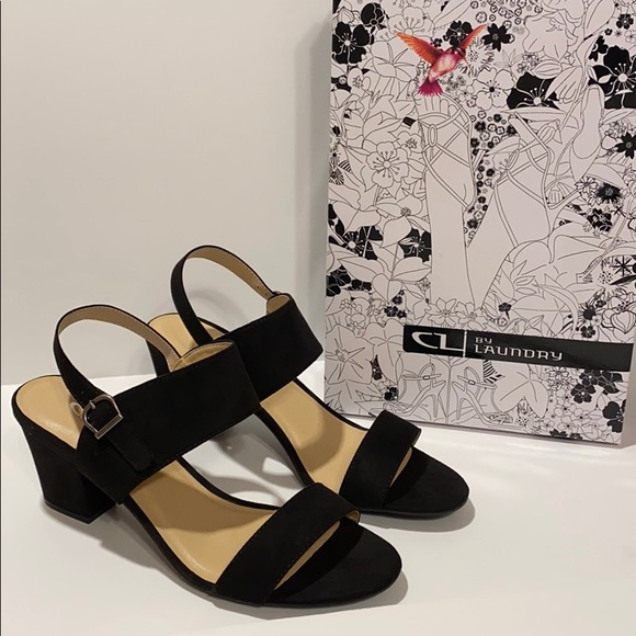 CL by Laundry Spot On SZ 9 Black Heeled Sandals